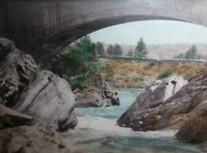 """Hugh Cummings """"Sauble River And Bridge"""" 1900's Hand Colored Phot Stratford Kitchener Area image 9"""