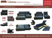 Amazing leather sofa bed, chaise lounge, ottoman & 3 storage all