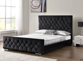 CRUSHED VELVET DOUBLE BED WITH 2000 POCKET SPRING MATTERSS