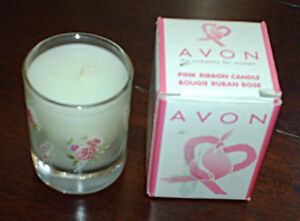 Avon Pink Ribbon candle -2000 - in original box, never used