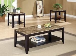 Brand New Espresso Marble 3-Piece Table Set!
