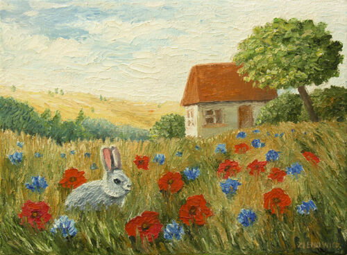 Rabbit Landscape ORIGINAL HANDMADE OIL PAINTING ON CANVAS Flower Animal 9 x 12