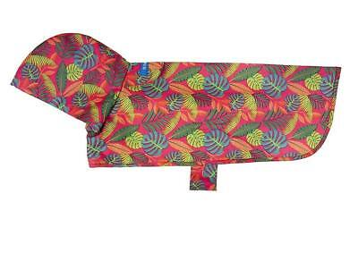 NEW Red & Green Dog Rain Coat Poncho (Packable) in Tropical Foliage by RC Pets - Poncho Dog