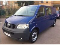 LHD LEFT HAND DRIVE VOLKSWAGEN TRANSPORTER 1.9 TDI LWB 2008 CREW CAB MANUAL MINIBUS 5 SEATER AC