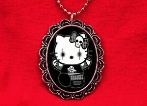 HELLO ANARCHY PUNK KITTY PENDANT NECKLACE EMO GOTH