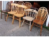Mixed Solid Pine Or Beech Country Kitchen Dining Chairs