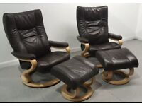 Himolla Stressless 2 x swivel recliner leather chairs and Stools in brown 131220