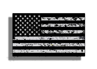 3 x 5 Distressed Black Gray Grunge American Flag Sticker USA Car Decal Subdued  - Gray Car Flag
