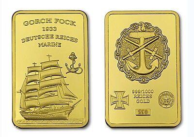 Gorch Fock Schiff Segelschiff Barren Kupferbarren Gilded Marine Bundeswehr
