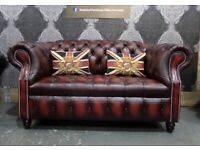 Stunning NEW Chesterfield 2 Seater Hump Back Sofa in Oxblood Red Leather - UK Delivery