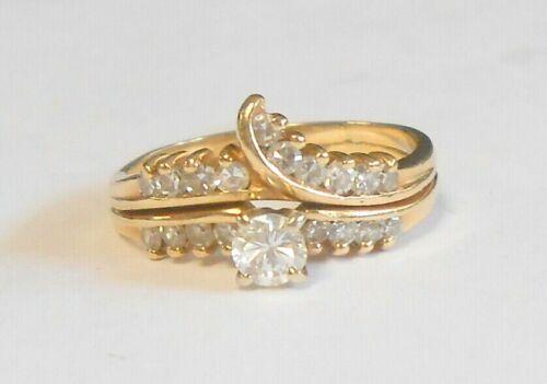 Vintage Diamond 14K Yellow Gold Wedding Band & Engagement Ring Set Size 7.25