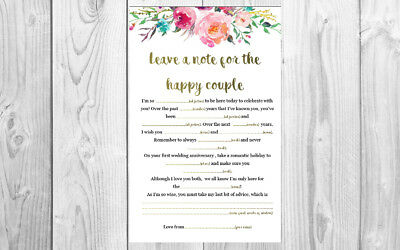 Printable Mad Libs for Wedding / Bridal Shower / Kitchen tea / Engagement/ Hen's - Bridal Mad Libs