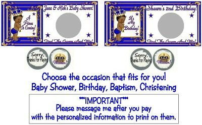 10 Royal Ethnic Prince Baby Shower Birthday Party Scratch Off Game Blue Gold - Royal Prince Baby Shower