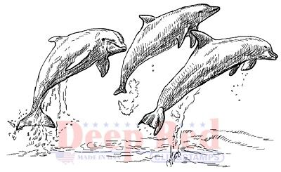 Deep Red Stamps Dolphins Rubber Cling Stamp