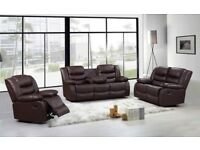 HILDA DELUXE BONDED LEATHER RECLINER SOFA SET WITH PULL DOWN CUP HOLDERS