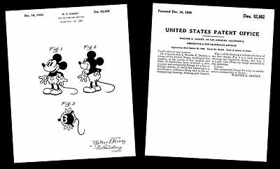 1930 Mickey Mouse Photo + PATENT Drawing/Design Documents,Art PRINT,Walt Disney