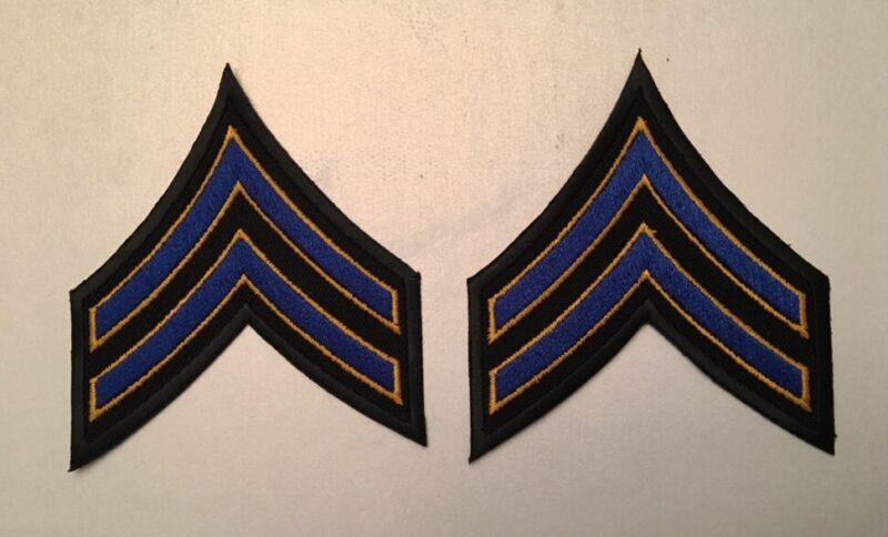 One Pair FTO Corporal Police Security Chevrons Stripes Patch Blue/Gold/Black
