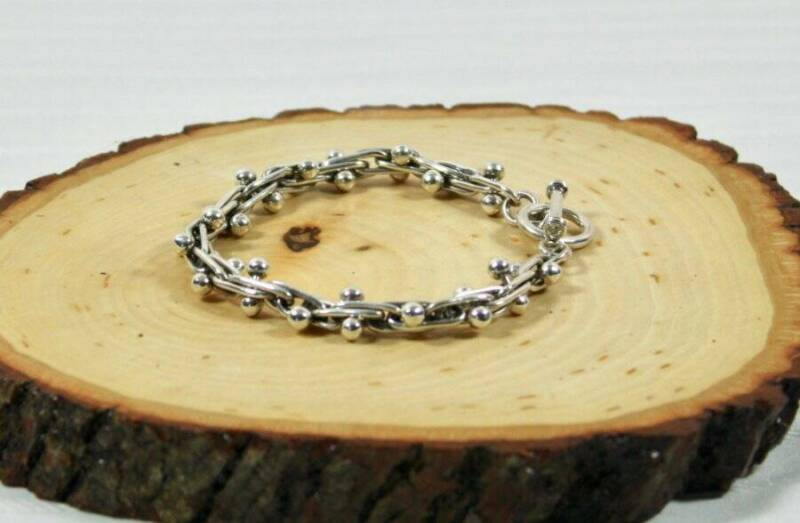 NWT 925 Taxco Mexican Link & Ball Silver Bracelet 7in.- Unisex-Handmade