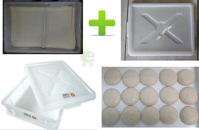 Contenitore cassetta per panetti impasto 60 X40 X H 10 + coperchio + telo cotone