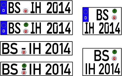 1 Paar  ModellKennzeichen DIN oder EURO in 1:18 selbstklebend nach Wahl  - 18 Zeichen
