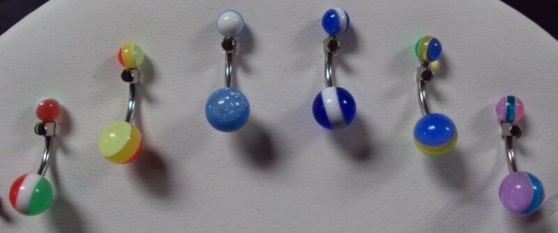 14 G 316L Surgical Steel Navel Belly Button Ring Bar Jewelry Stripe D Lot of 6