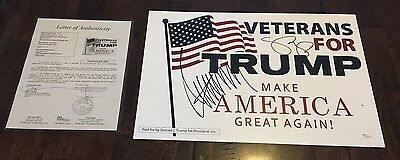 Donald Trump   Mike Pence Dual Signed Campaign Placard Jsa Letter Christmas Gift