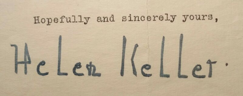 1940 HELEN KELLER Typed SIGNED Letter WWII Era RARE vtg Auto Deaf Blind
