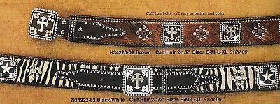 Kristall Western Hipster Gürtel ~ Rhinestone Leder Nocona Zebramuster Kreuz (Zebra Erwachsene Gürtel)