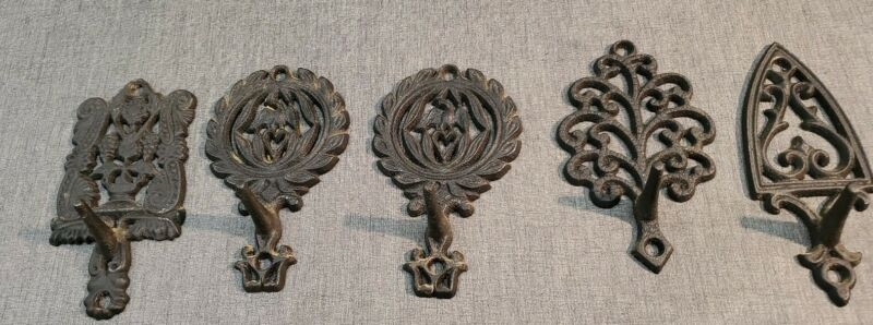 "Set of 5 Vintage Cast Iron Decorative Hooks - about 5"" Height"