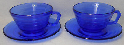 (HAZEL ATLAS Depression Glass MODERNTONE COBALT BLUE 2 Cup & Saucer Sets)