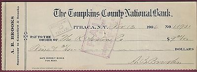 Bank Check  The Tompkins County National Bank  Ithaca  Ny  Dated Nov 13  1906