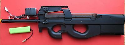 JG P90 Metal Gearbox Airsoft Electric Gun W/a Extra Long Barrel Better