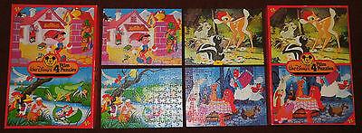 Disney 50 Jahre Micky Maus Jubiläum Puzzle 4x vintage 70er jigsaw 70s Bambi 70s