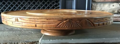 """Large LAZY SUSAN / TURNTABLE Wooden Carved 17.25"""""""