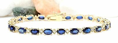 13.40 Carat Natural Sapphire and Diamond 14K Yellow Gold Luxury Tennis Bracelet for sale  Shipping to South Africa