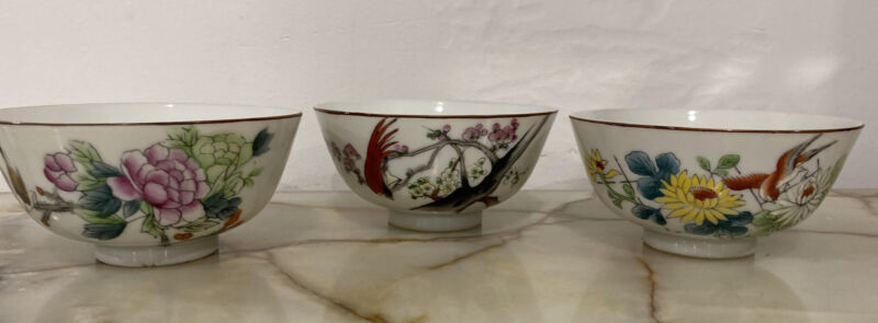 Vintage Oriental Asian Rice Bowls 3 Hand-painted Flowers Birds