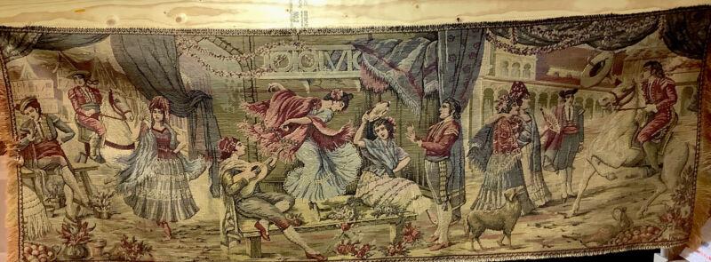 "Antique Tapestry Large Spanish Plaza Dancer Scene 52"" X 18"""