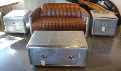 Set Of 4 Items Cocktail Coffee 2 Side Tables And Leather Sofa Aluminum Aviator