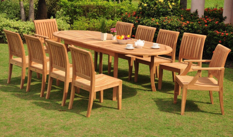 """11-piece Outdoor Teak Dining Set: 94"""" Oval Table, 10 Arm/armless Chairs Lagos"""