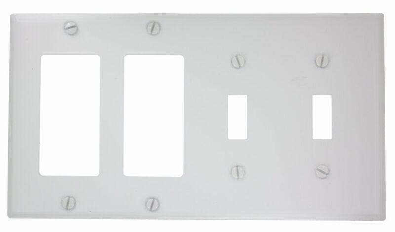 Leviton P2262-W 4-Gang 2-Toggle Decora/GFCI Device Combination Wallplate White
