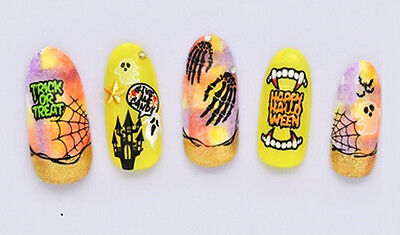 Halloween Tree Nails (Blood Halloween Face Tree Bat Ghost Web Eye Teeth Water Transfers Nail Art)