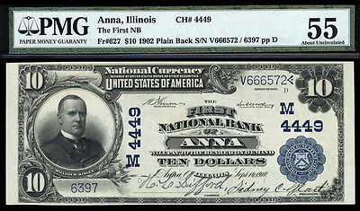 10 1902 Pb The First National Bank Of Anna  Illinois Ch 4449 High Grade Lg Size