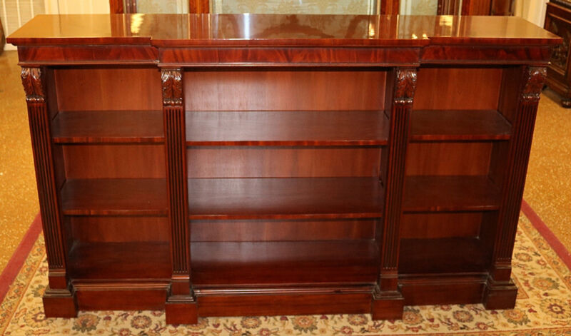 Gorgeous Flame Mahogany Regency Style Open Three Shelf Bookcase