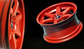 Japan racing jr3 alloy wheels red and tyres