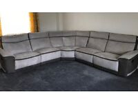Large suede corner sofa,two end seats recliners