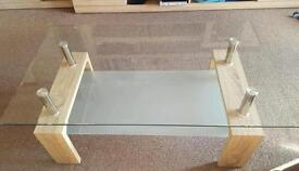 Cofee table glass oak