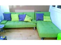 IKEA Green Fabric Corner Sofa Bed + 3x Green Cushions (ASAP TODAY) - LOCAL FREE DELIVERY