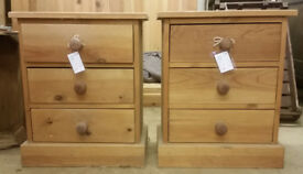 Solid pine 3 drawer bedside chests