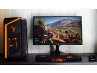 Gaming Computer PC Intel Quad Core 8GB Ram GTX 1050ti Windows 10 Home Orange lights
