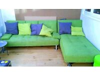 IKEA Green Fabric Corner Sofa Bed + 3x Green Cushions - LOCAL FREE DELIVERY